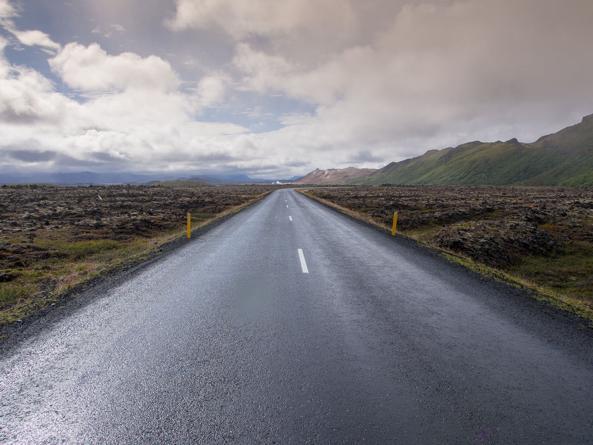 The road ahead, near Krafla;Iceland;Travel