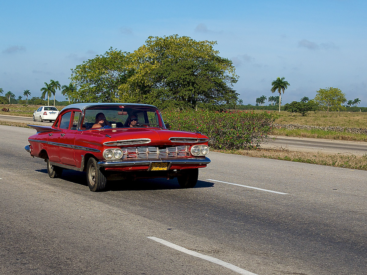 On the highway;America;car;Cuba;old;old car;travel